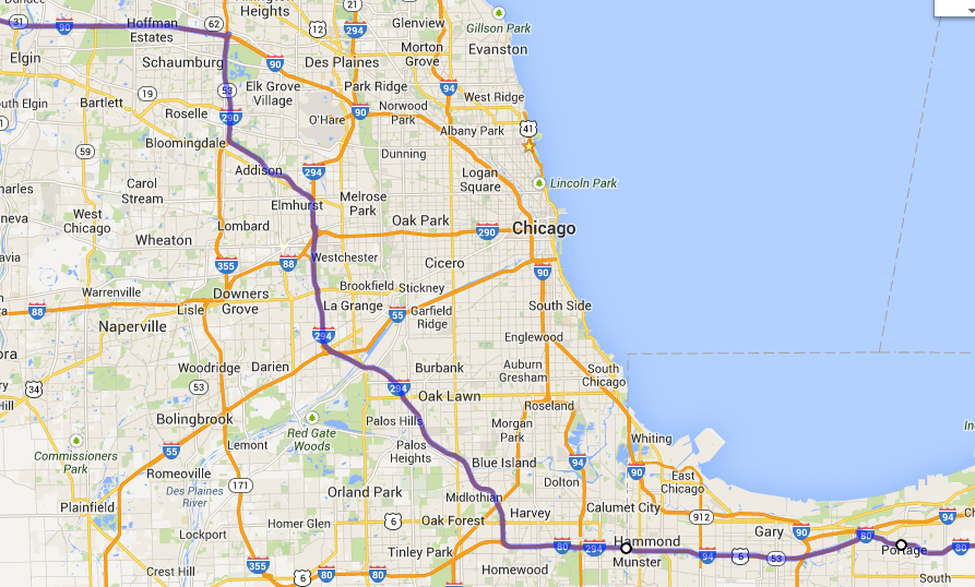 Chicago Skyway Map A good route for driving through Chicago | Marginalia